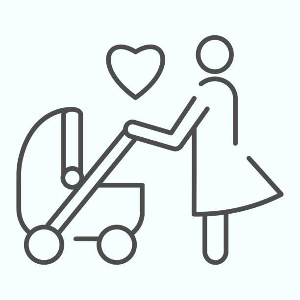 ベビーカーの細い線のアイコンを持つ母。白に隔離されたママベクターイラストを持つ子キャリッジ。web とアプリ用に設計されたプラム アウトライン スタイルデザインの親エプス 10。 - 妻点のイラスト素材/クリップアート素材/マンガ素材/アイコン素材