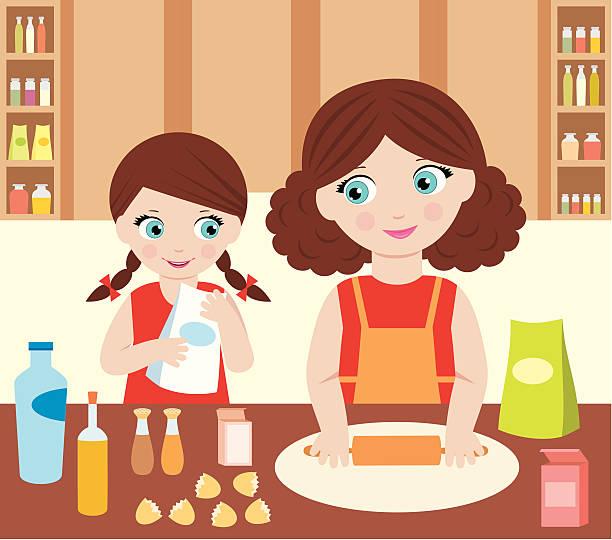 ilustrações de stock, clip art, desenhos animados e ícones de mãe com a filha cozinhar massa - baking bread at home