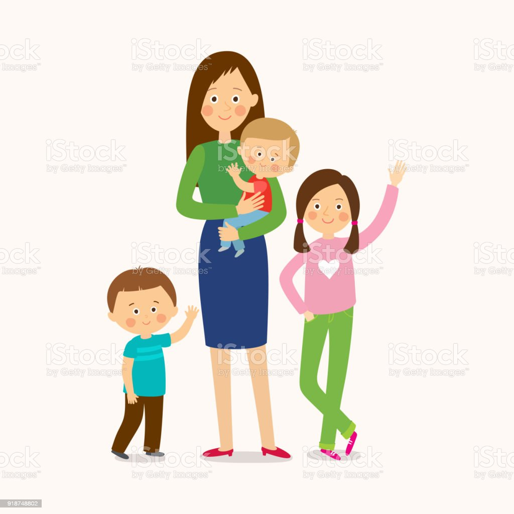 Mother with three children. Happy family. vector art illustration
