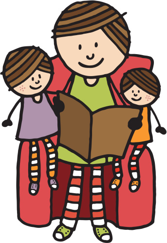 Mother with two children reading together