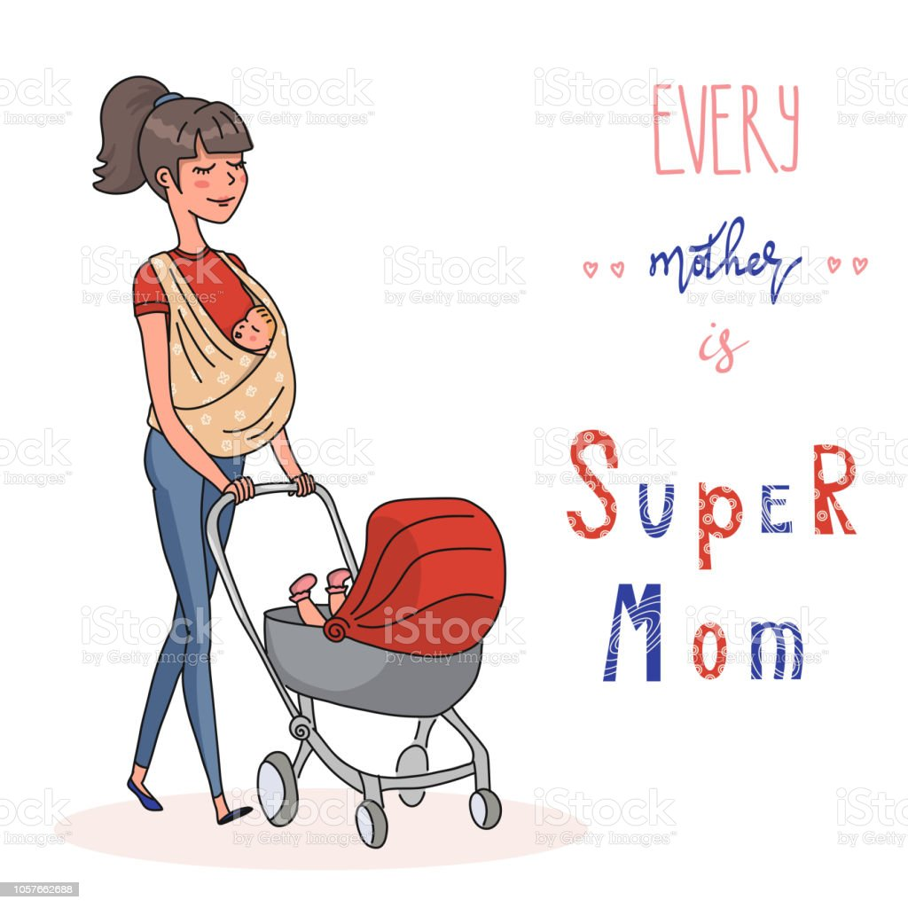 Mother with two kids on sling and in the stroller vector art illustration