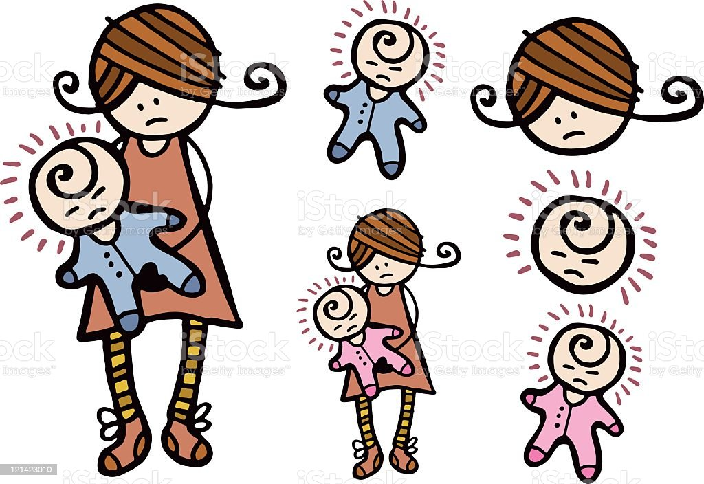Mother with upset baby royalty-free stock vector art