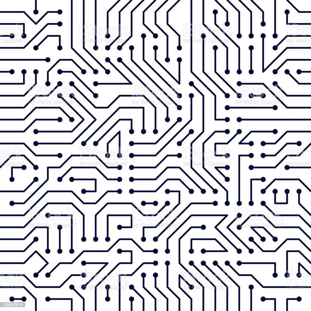 Motherboard Board Seamless Pattern Vector Background Circuit