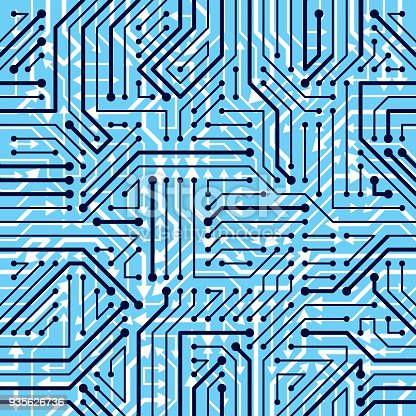 istock Motherboard board seamless pattern, vector background. Circuit board technology electronics wallpaper repeat design. 935626736