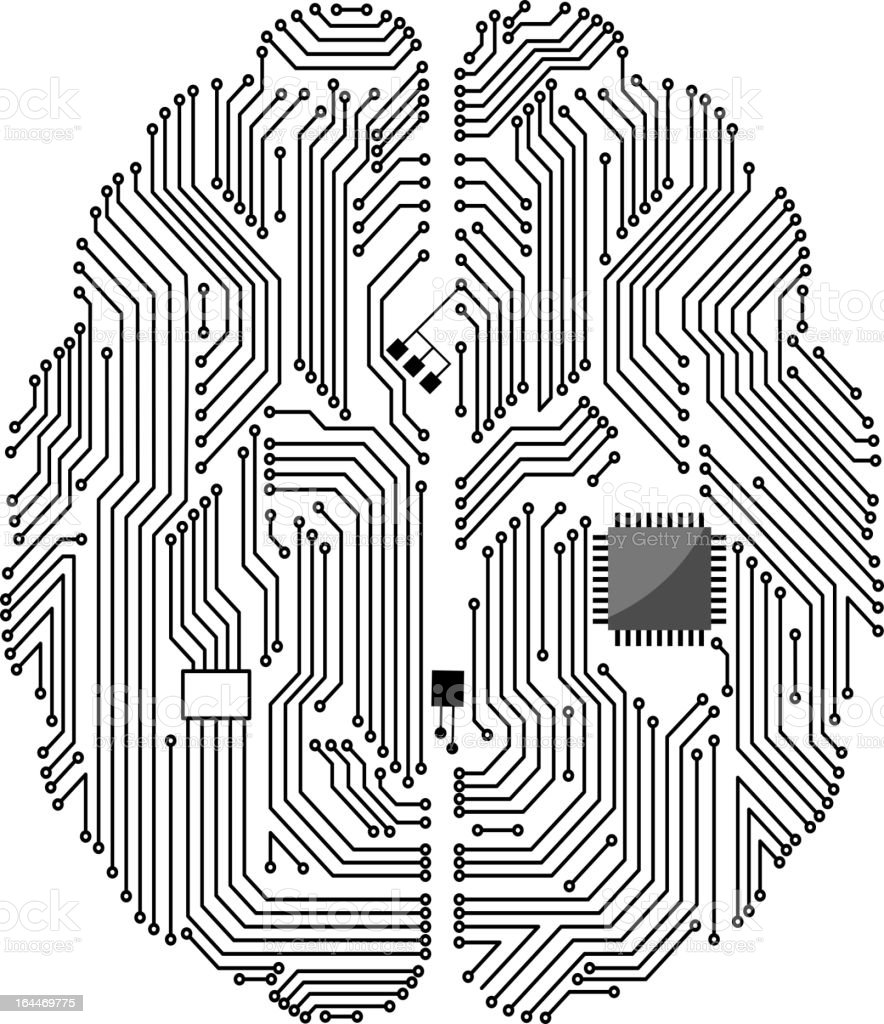 Motherboard brain vector art illustration