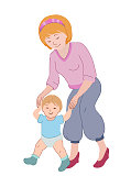istock Motherday vector illustration. Mom teaches a child to walk 1221178261