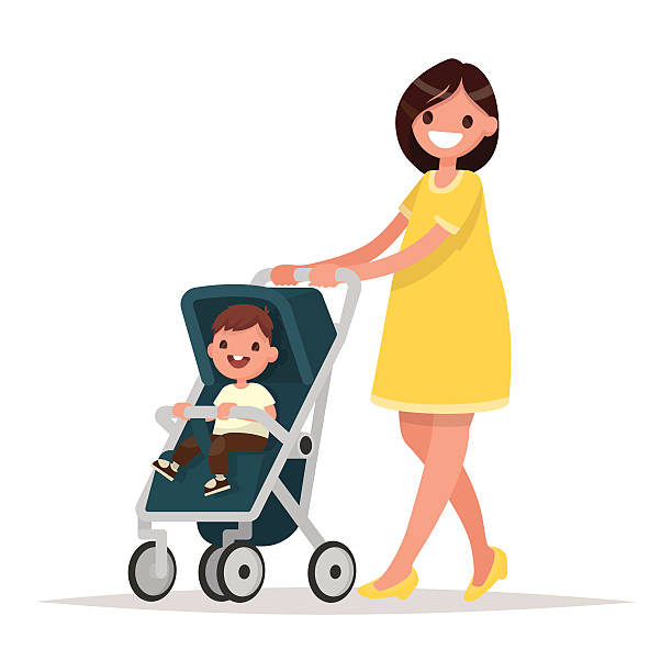 Motherhood. Happy young mother with the baby in the pram. vector art illustration