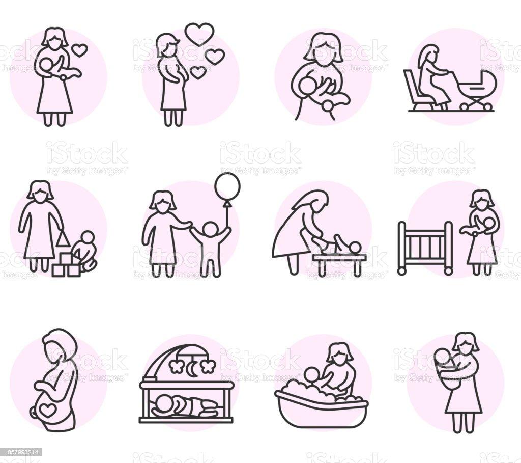 motherhood icons set. vector art illustration