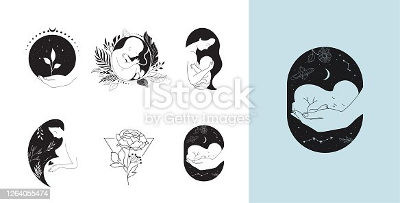 istock Motherhood, maternity, babies and pregnant women logos, collection of fine, hand drawn style vector illustrations and icons 1264055474