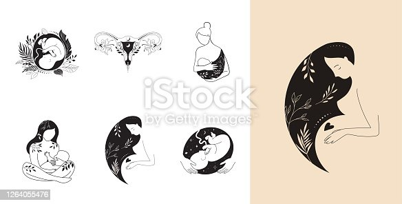 istock Motherhood, maternity, babies and pregnant women logos, collection of fine, hand drawn style vector illustrations and icons 1264055476