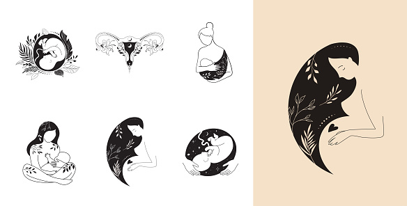 Motherhood, maternity, babies and pregnant women logos, collection of fine, hand drawn style vector illustrations and icons