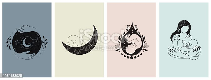 istock Motherhood, maternity, babies and pregnant women logos, collection of fine, hand drawn style vector illustrations and icons 1264183025
