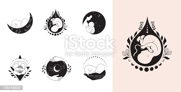 istock Motherhood, maternity, babies and pregnant women logos, collection of fine, hand drawn style vector illustrations and icons 1264183031