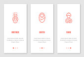 Motherhood onboarding screens design. Template for mobile apps and website. Vector illustration.
