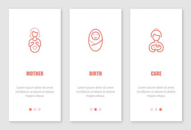 mutterschaft onboarding bildschirme entwerfen. - schwangerschaft stock-grafiken, -clipart, -cartoons und -symbole