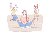 Motherhood, psychological balance concept. Mother meditating in lotus pose with excited kids jumping on sofa, relaxed mommy practicing yoga calming techniques. Simple flat vector