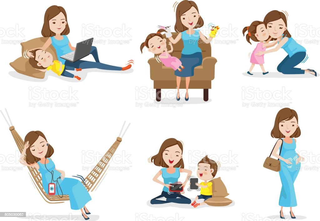 Motherhood vector art illustration