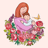 istock Motherhood vector illustration. Color drawing for motherday. Mother and little baby 1222130346