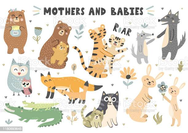 Mothers and babies animals collection vector id1150693645?b=1&k=6&m=1150693645&s=612x612&h=bj8hfhej3m2cp2whfkqju1plsuqfb csbqwikxt z9i=