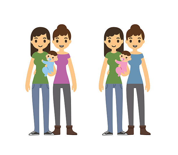 Mothers and baby Cute cartoon gay couple holding a baby and smiling, isolated on white background. Two variants: with baby boy and girl. same sex couples stock illustrations