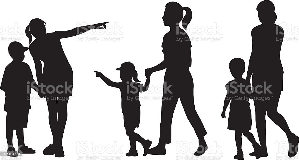 Mothers and children vector art illustration