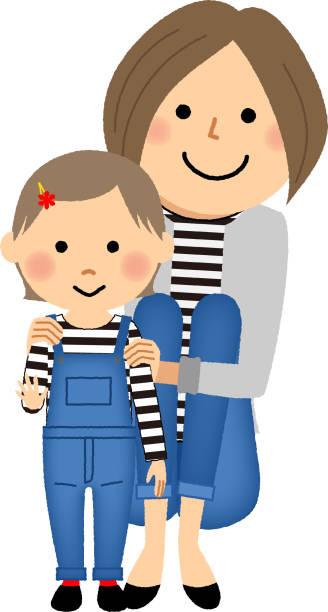 母と娘の服を一致します。 - 母娘 笑顔 日本人点のイラスト素材/クリップアート素材/マンガ素材/アイコン素材