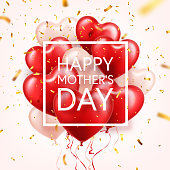 Mothers day background with red hearts balloons and confetti. Greeting card, template. with lettering.Heart shaped. Holiday