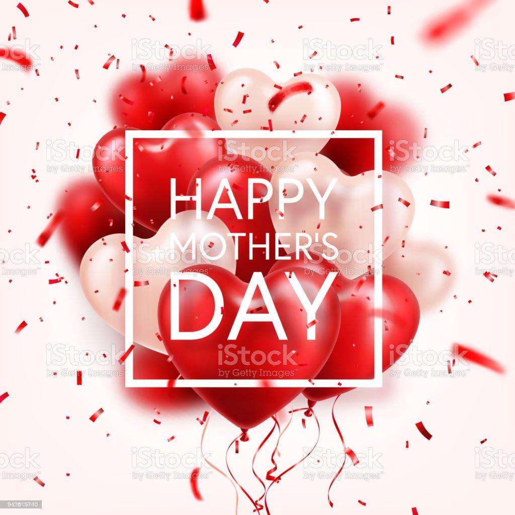 Mütter Tag Hintergrund Mit Roten Herzen Luftballons Und Konfetti ...