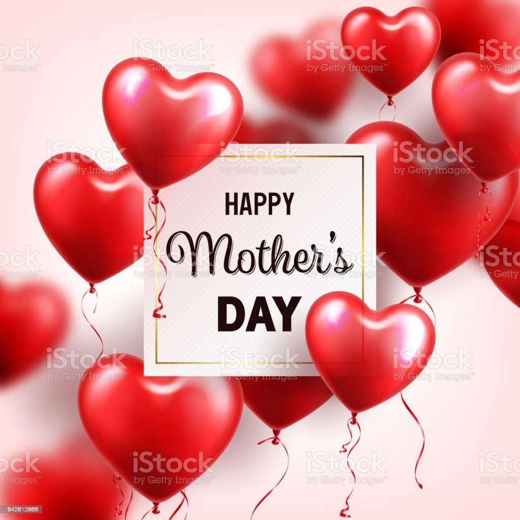 Mütter Tag Hintergrund Mit Roten Herzen Luftballons Grußkarte ...