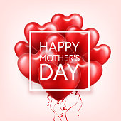 Mothers day background with red hearts balloons. Greeting card, template. with lettering.Heart shaped. Holiday