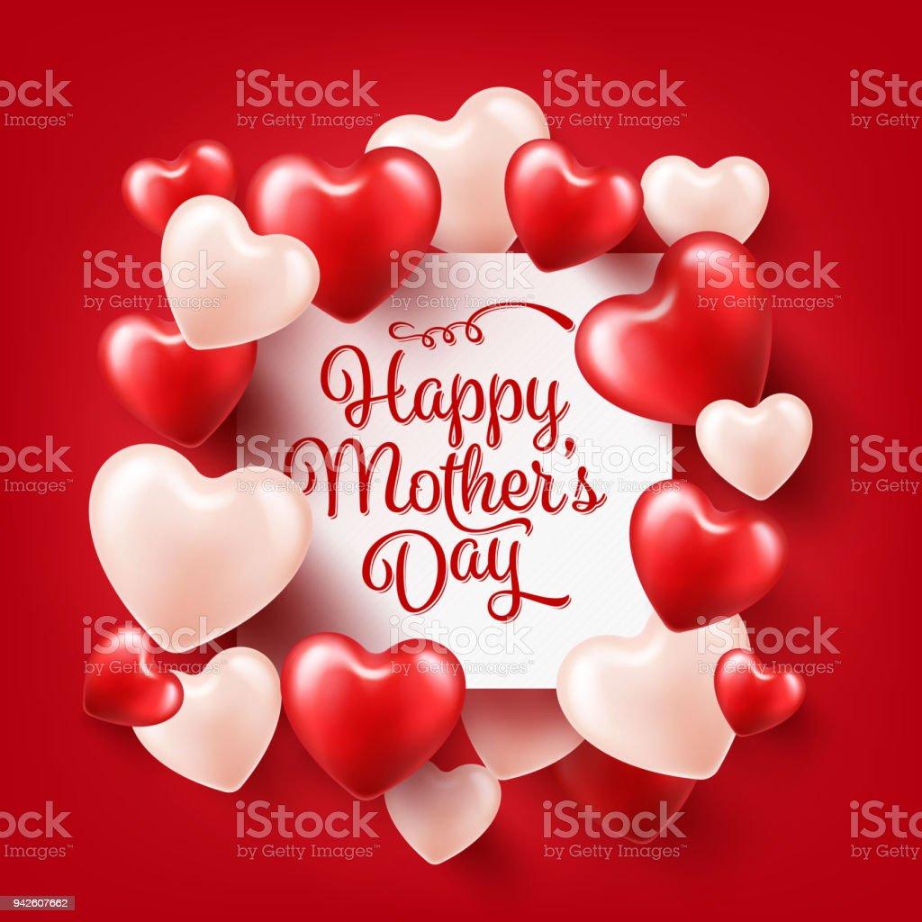 Mütter Tag Hintergrund Mit Roten Herzen Grußkarte Vorlage Mit