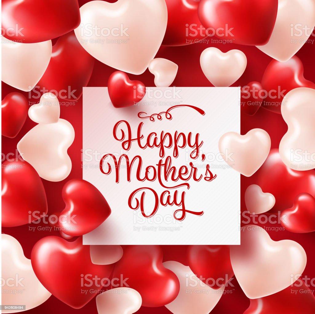 Mütter Tag Hintergrund Mit Roten Herzen Grußkarte Vorlage Mit ...