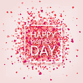 Mothers day background with red hearts. Greeting card, template with lettering. Heart shaped. Holiday