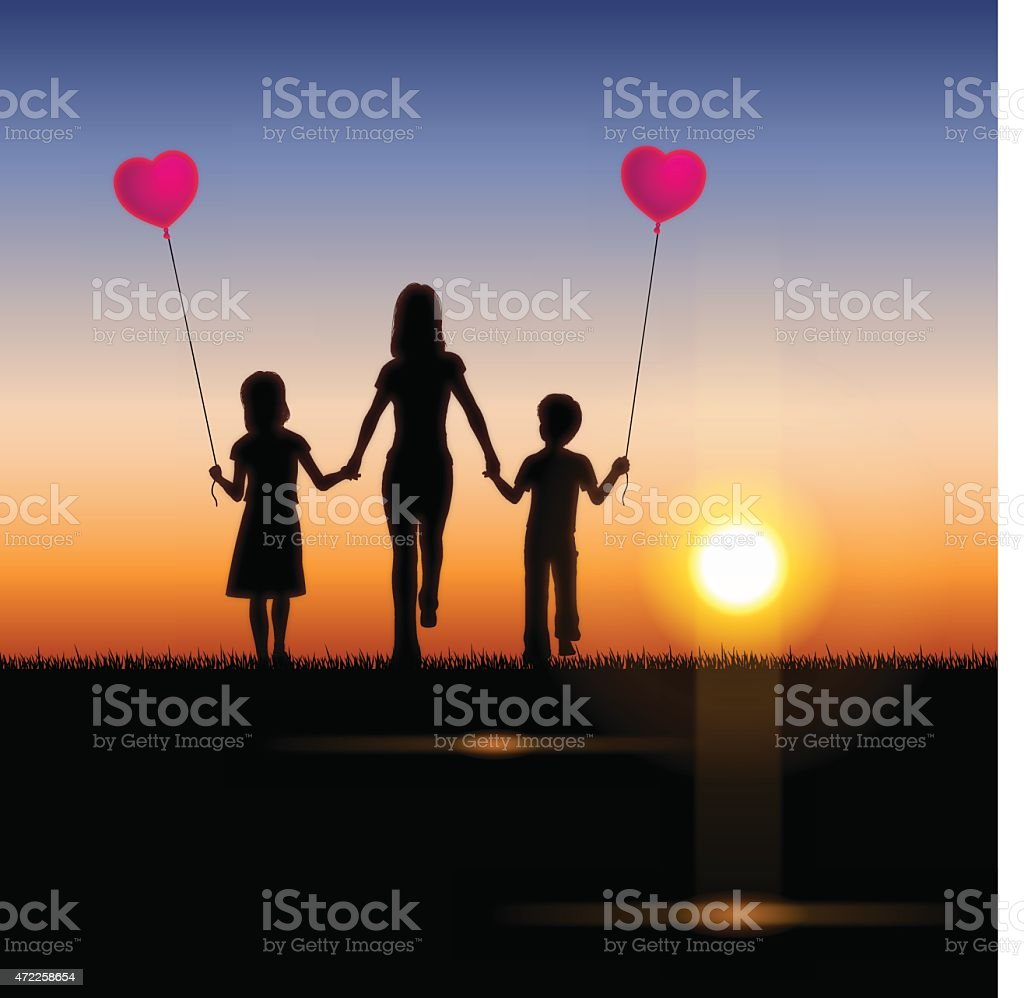 Mother's Day background[Mother and children in the sunset] vector art illustration