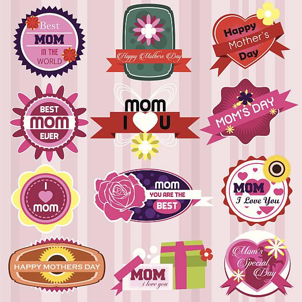 Mother's Day Badges and Labels im Vintage-Stil.  Vektor Illustra – Vektorgrafik