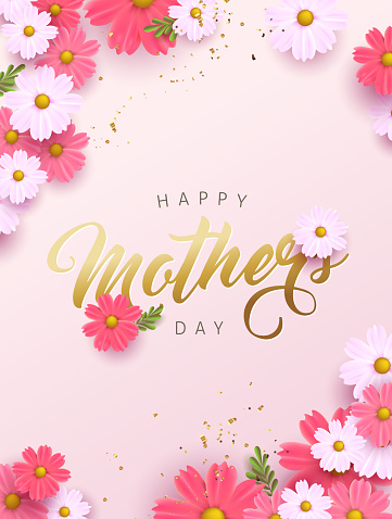 Mothers day banner background layout with flower.Greetings and presents for Mothers day in flat lay styling.Vector illustration template.