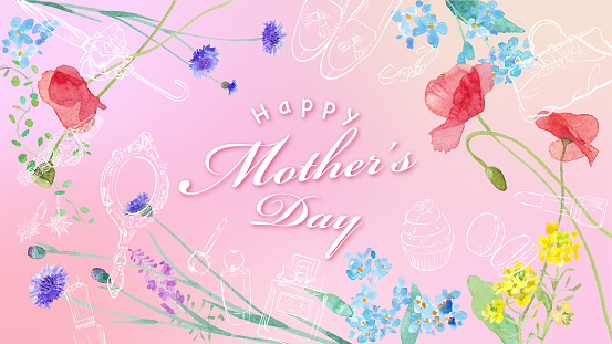 Mother's day banner. Spring field flowers and gift frame design. Watercolor illustration trace vector. Layout can be changed.