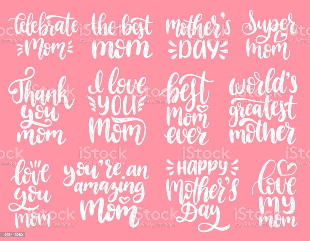 Mothers day calligraphy illustration set vector handwritten phrases mothers day calligraphy illustration set vector handwritten phrases collection for greeting card festival poster m4hsunfo