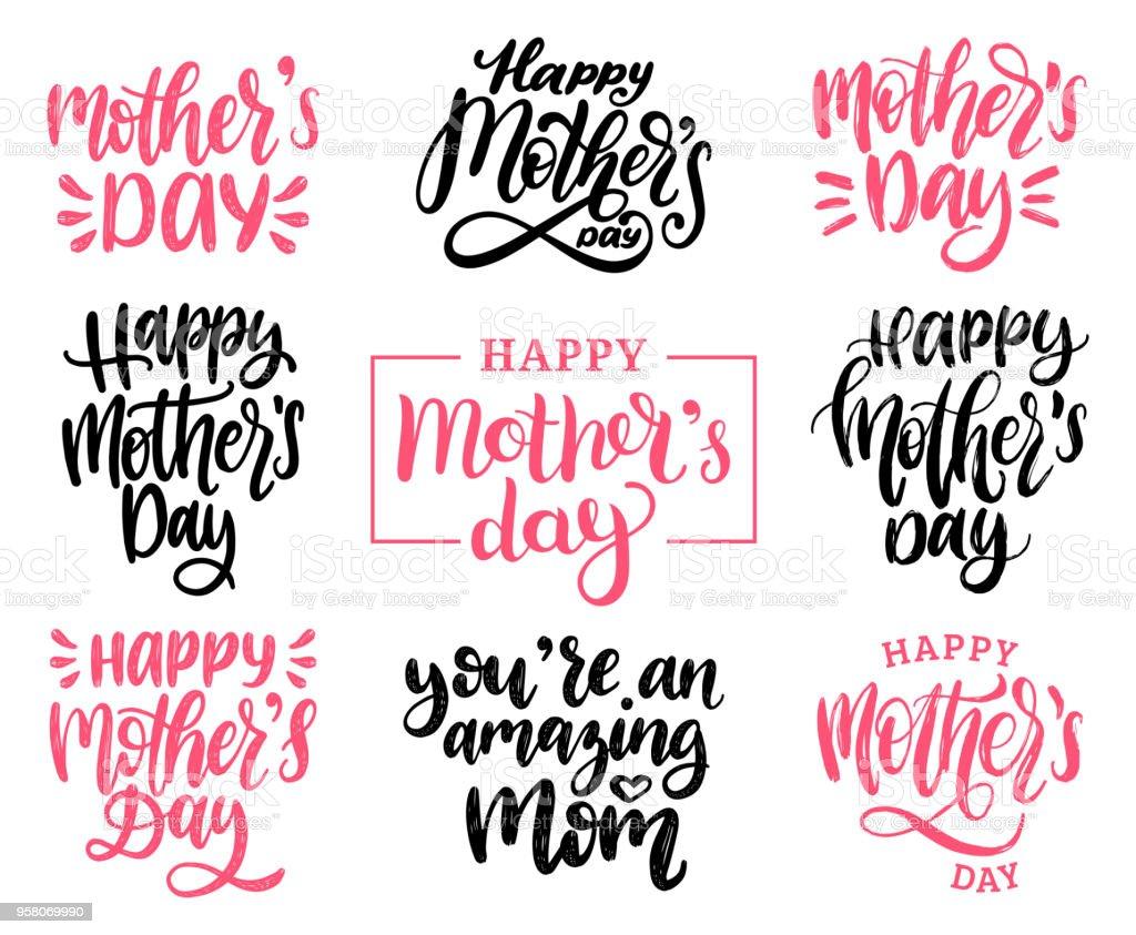 Mütter Tag Kalligraphie Abbildung Eingestellt Vektorhandgeschriebene ...