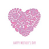 Mother's Day card message with pink heart in paper cut.