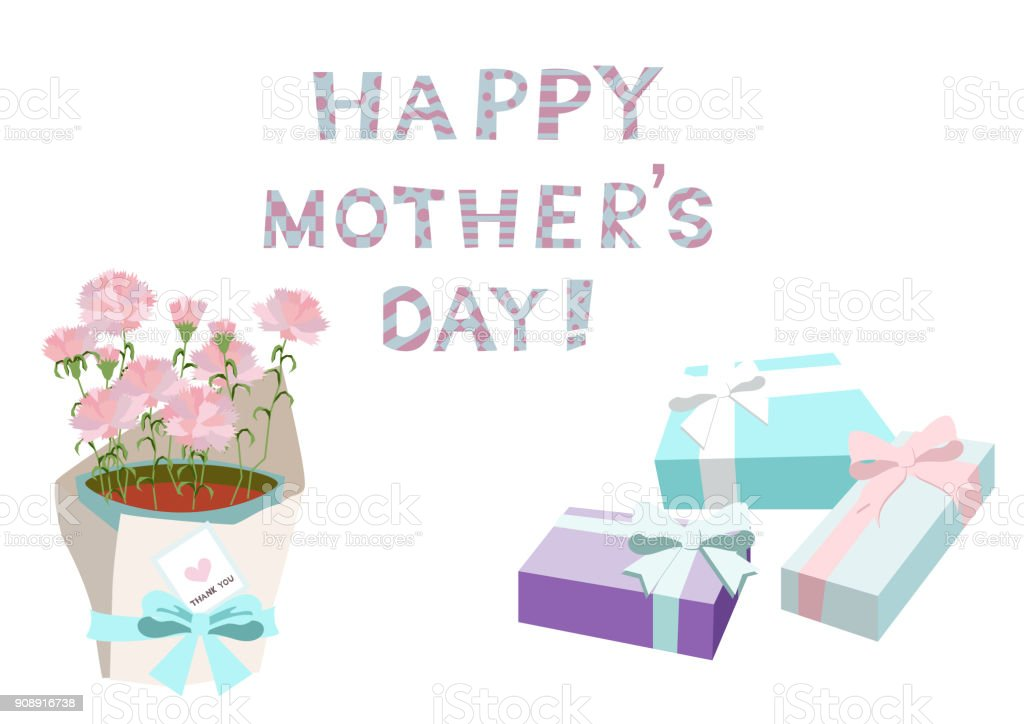 mothers day card vector illustration material collection happy