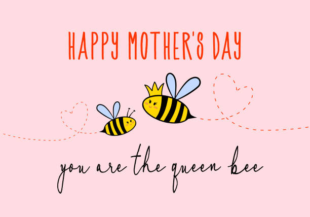 Mother's day card with cute bee, vector Mother's day card with cute queen bee, vector illustration queen bee stock illustrations