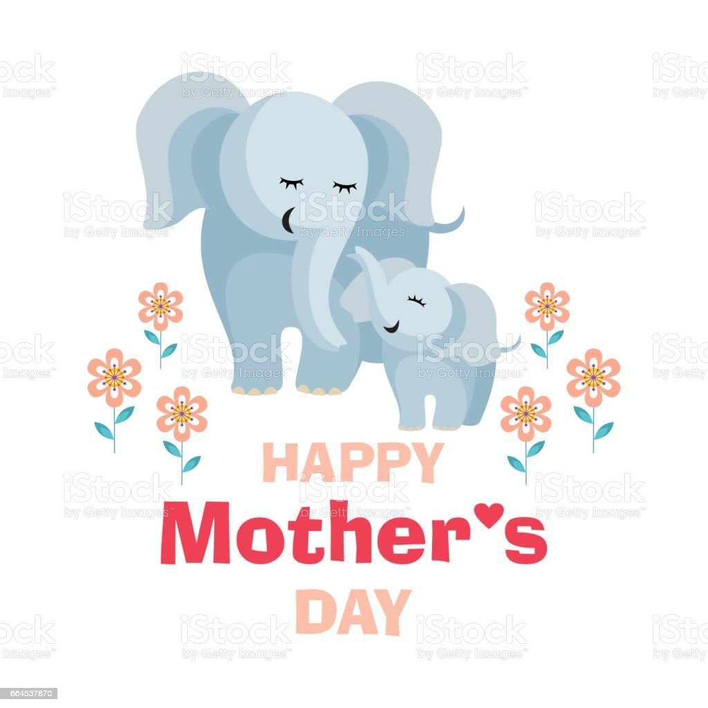 mother's day card with elephants royalty-free mothers day card with elephants stock vector art & more images of animal