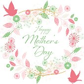 Mother's Day Greeting Card or background. Hand drawn floral elements. Flowers are scattered about and in pretty feminine colors. All flat color for easier editing.