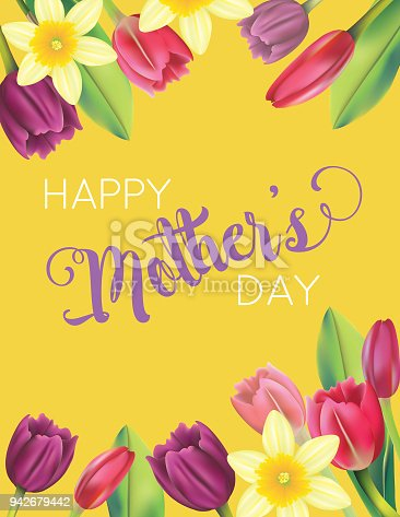 istock Mother's Day Card With Floral Designs 942679442
