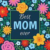 Mother's Day Card with floral frame - Illustration