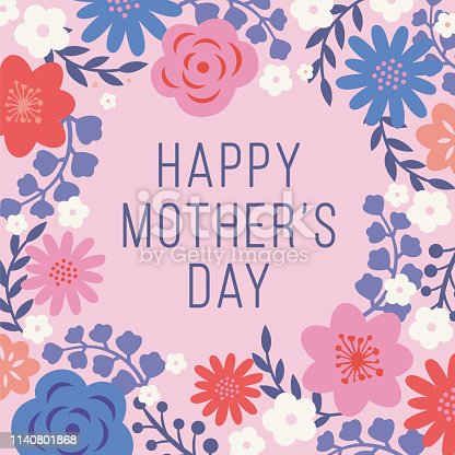 istock Mother's Day Card with floral frame. 1140801868