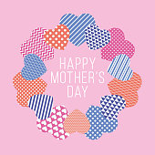 istock Mother's Day card with Hearts Wreath. 1315426390