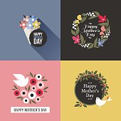 Mothers day card with pretty birds, assortment of multicolored floral decoration and greeting text message