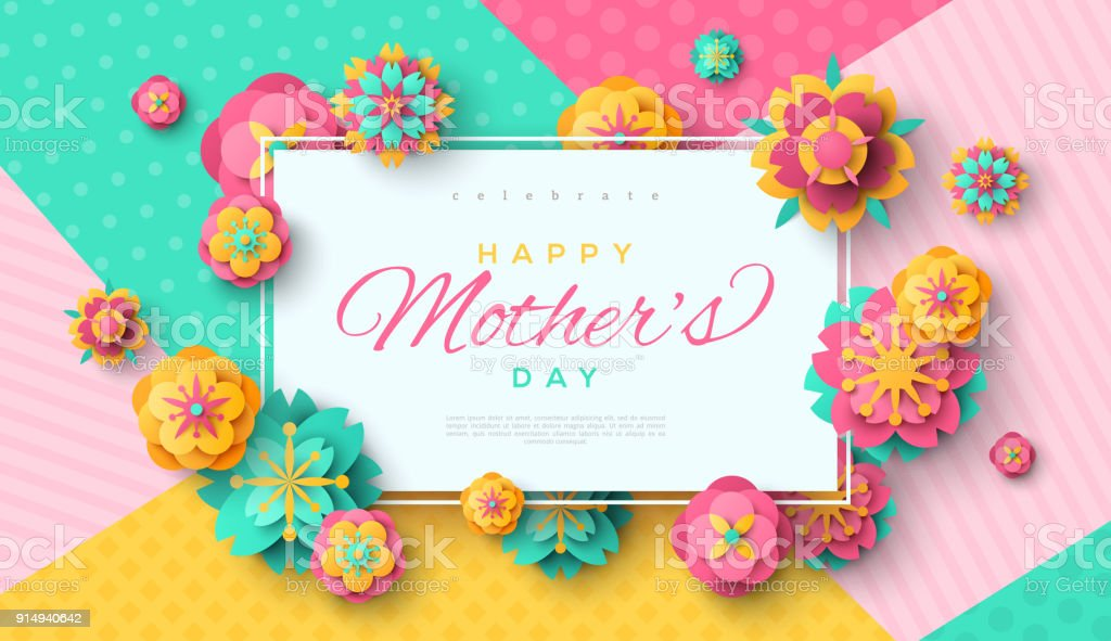 Mother's Day card with square frame vector art illustration